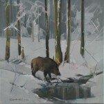 Twardowski. Odyniec w zimowym lesie